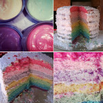 baking inspiration rainbow layer cake vanilla frosting white cake recipe